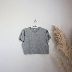 Brandy Melville grey cropped USA t-shirt